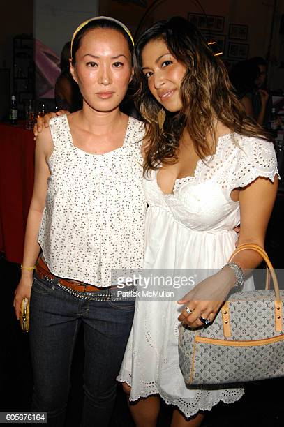 Kim Figuerola and Sylvie Cachay attend Valentino hosts Runway Meets The Raceway at Classic Car Club Manhattan NYC on July 24 2006