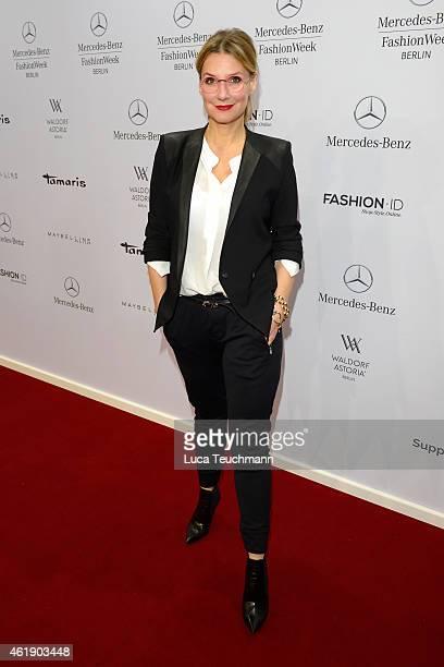 Kim Fisher attends the Guido Maria Kretschmer show during the MercedesBenz Fashion Week Berlin Autumn/Winter 2015/16 at Brandenburg Gate on January...