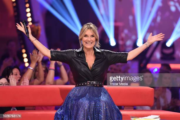 Kim Fisher performs the recording of german MDR TV Show 'Kim Fisher presents Kulthits - Die Show mit 100 % Livemusik' on September 4, 2018 in...