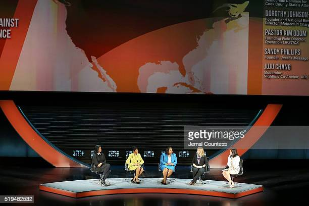 Kim Foxx Dorothy JohnsonSpeight Kim Odom Sandy Phillips and Juju Chang speak onstage at Tina Brown's 7th Annual Women In The World Summit Opening...