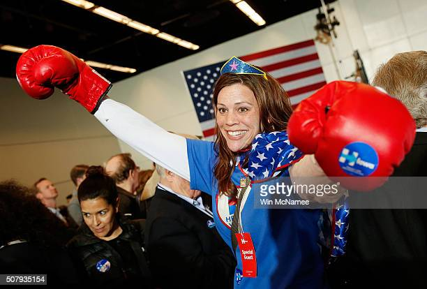 Kim Frederick of Houston Texas arrives for the caucus night event of Democratic presidential candidate former Secretary of State Hillary Clinton in...