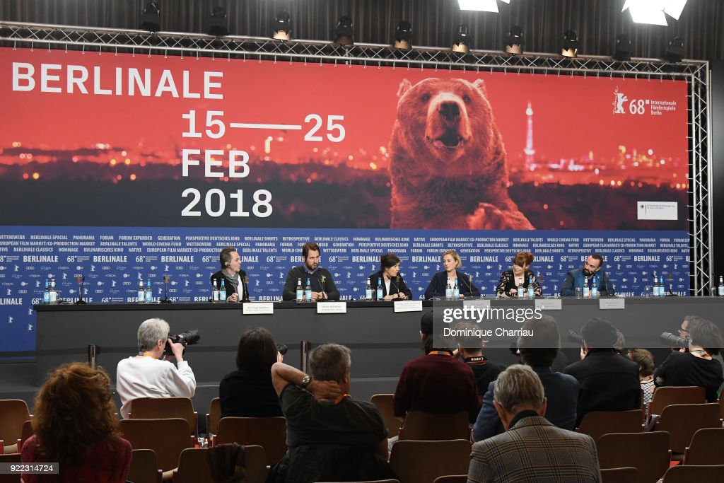 Kim Fupz Aakeson, Henrik Rafaelsen, Pernille Fischer Christensen, Alba August, Maria Dahlin, Nikolaj Nikitin attend the 'Becoming Astrid' (Unga Astrid) press conference during the 68th Berlinale International Film Festival Berlin at Grand Hyatt Hotel on February 21, 2018 in Berlin, Germany.