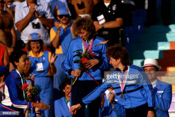 Kim Gallagher Doina Melinte Fita Lovin Women's 800 Meter competition Memorial Coliseum at the 1984 Summer Olympics August 4 1984