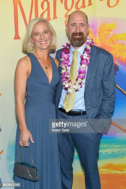 Kim Garcia and Greg Garcia attend the Broadway premiere of 'Escape to Margaritaville' the new musical featuring songs by Jimmy Buffett at the Marquis...