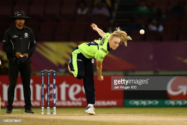 Kim Garth of Ireland bowls during the ICC Women's World T20 2018 match between New Zealand and Ireland at Guyana National Stadium on November 17 2018...