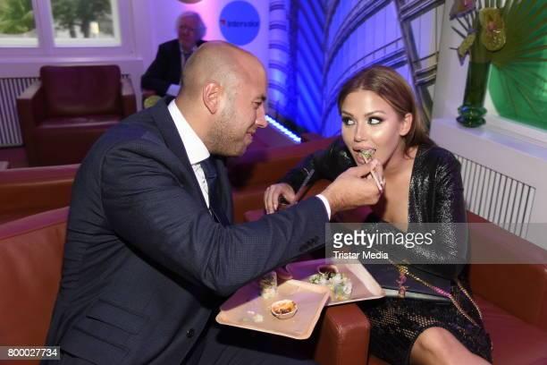 Kim Gloss and her boyfriend Alexander Beliaikin attend the Bertelsmann Summer Party on June 22 2017 in Berlin Germany