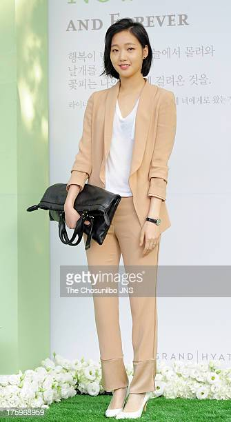 Kim GoEun attends Lee ByungHun and Lee MinJung's wedding at Grand Hyatt Hotel on August 10 2013 in Seoul South Korea