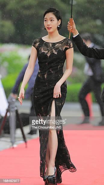 Kim GoEun poses for photographs upon arrival during 49th Paeksang Arts Awards at Grand Peace Palace in Kyung Hee University on May 9 2013 in Seoul...