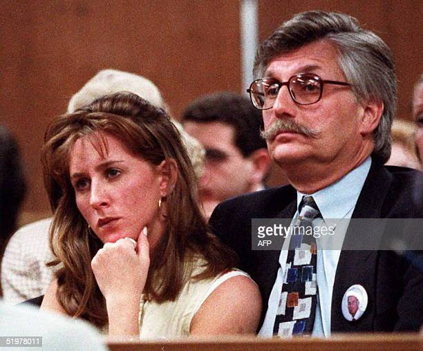 Kim Goldman and Fred Goldman sister and father of murder victim Ronald Goldman listen to Superior Court Judge Alan Haber in a Santa Monica California...