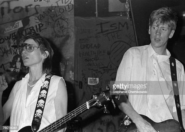 Kim Gordon and Thurston Moore of Sonic Youth perform at CBGB's in 1983 in New York city New York