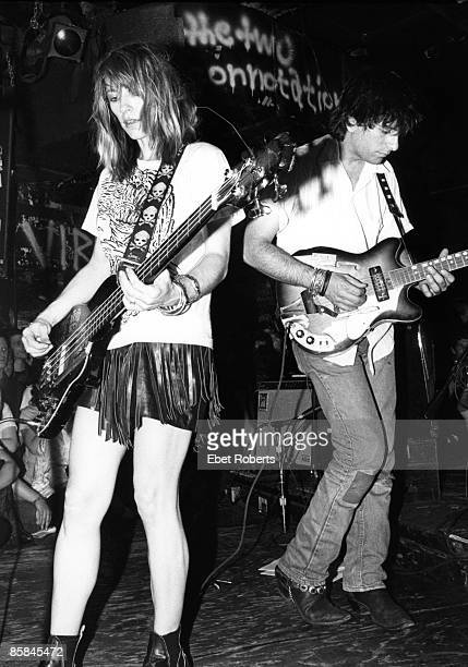 Kim Gordon Lee Ronaldo of Sonic Youth perform on stage at CBGB's New York 1986