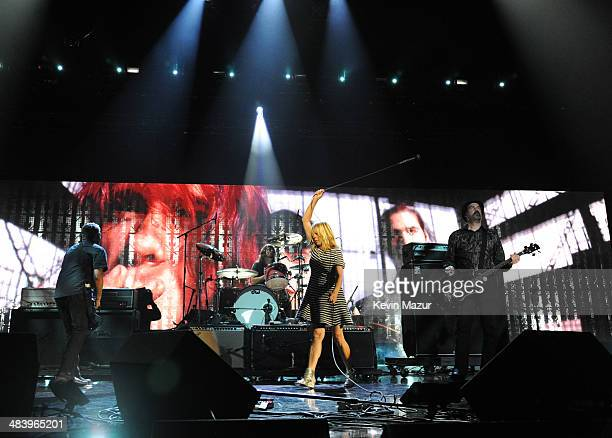 Kim Gordon performs with Pat Smear, Dave Grohl and Krist Novoselic of Nirvana onstage at the 29th Annual Rock And Roll Hall Of Fame Induction...