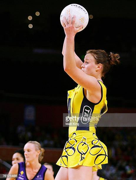Kim Green of the Swifts jumps for the ball during the Commonwealth Bank Trophy Final match between the Melbourne Phoenix and the Sydney Swifts at...