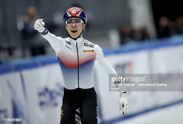 Kim Gun Woo of Republic of Korea celebrates winning the men 1500 meter final A during the ISU Short Track World Cup Day 1 at Tazzoli Ice Rink on...