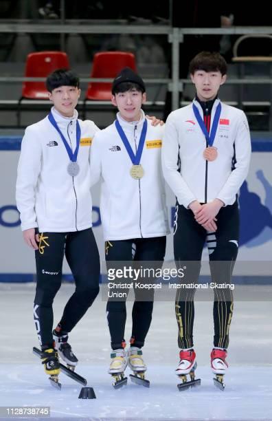 Kim Gun Woo of Republic of Korea celebrates winning the second place Lim Hyo Jun of Republic of Korea celebrates winning the first place and Yu...