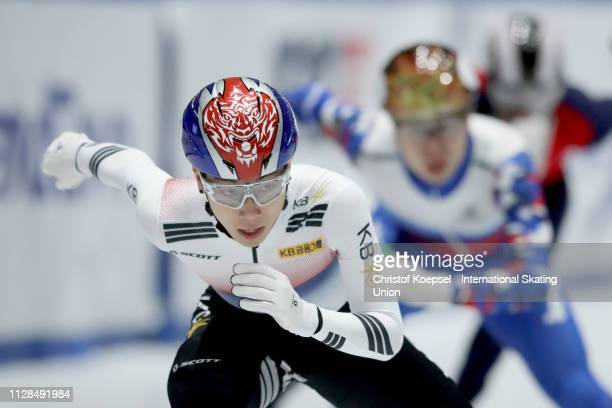 Kim Gun Woo of Republic of Korea skates in front and won the men 1500 meter final A during the ISU Short Track World Cup Day 1 at Tazzoli Ice Rink on...