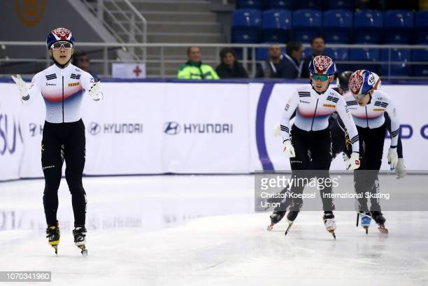 Kim Gun Woo of South Korea celebrates winning the men second 1500 meter final A race during the ISU Short Track World Cup Day 2 at Halyk Arena on...