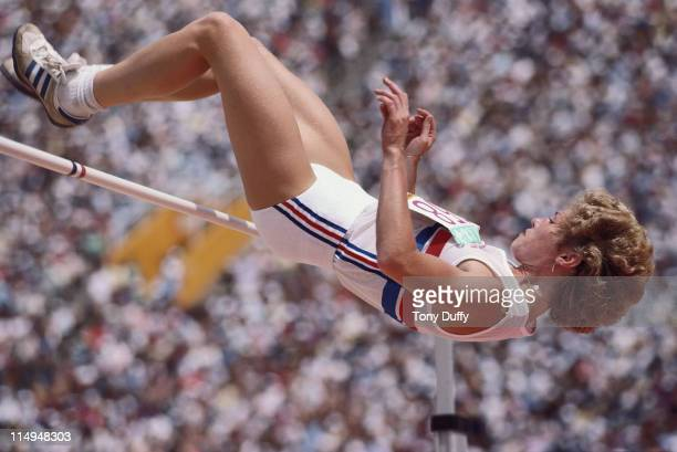 Kim Hagger of Great Britain during the Women's Heptathlon High Jump event at the XXIII Summer Olympics on 3rd August 1984 at the Los Angeles Memorial...