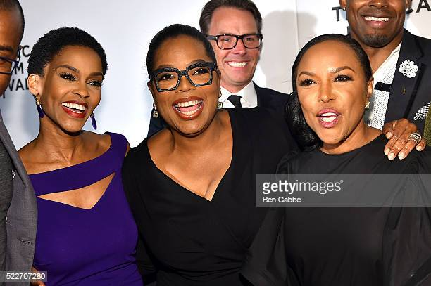 Kim Hawthorne Oprah Winfrey and Lynn Whitfield attend the Tribeca Tune In Greenleaf at BMCC John Zuccotti Theater on April 20 2016 in New York City