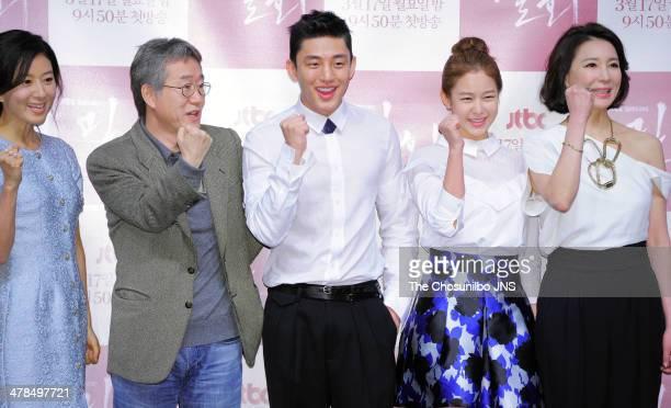 Kim HeeAe Ahn PanSeok Yoo AhIn Kyung SuJin and Sim HyeJin attend the JTBC drama 'Secret Love Affair' press conference at Hoam Art Hall on March 12...
