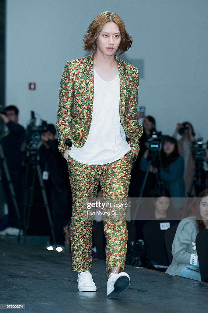 Kim Hee-Chul (Heechul) of South Korean boy band Super Junior attends the photocall for KBS 2TV K-Style (beauty, fashion, lifestyle) program 'A Style For You' on March 25, 2015 in Seoul, South Korea. The program will open on April 05, in South Korea.