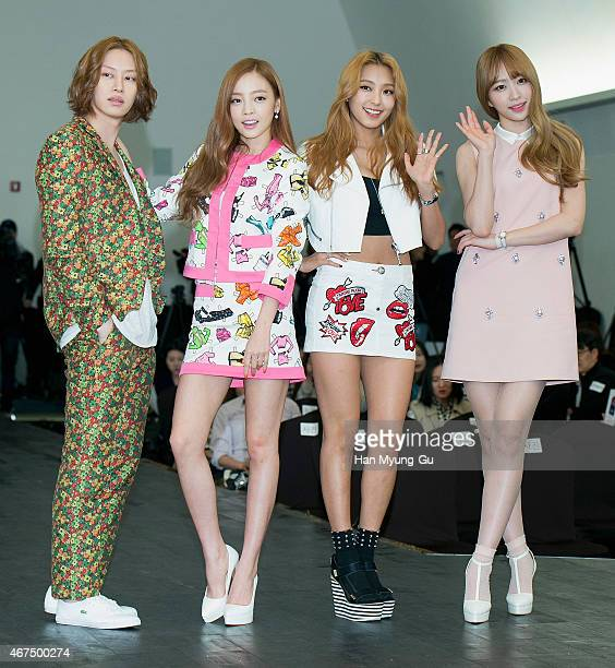 Kim HeeChul of South Korean boy band Super Junior Hara of South Korean girl group KARA Bora of South Korean girl group SISTAR and Hani of South...