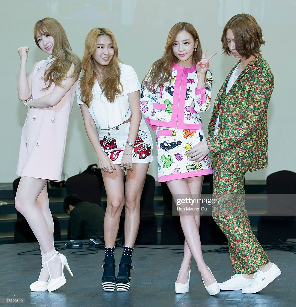 Kim Hee-Chul (Heechul) of South Korean boy band Super Junior, Hara of South Korean girl group KARA, Bora of South Korean girl group SISTAR and Hani of South Korean girl group EXID attend the photocall for KBS 2TV K-Style (beauty, fashion, lifestyle) program 'A Style For You' on March 25, 2015 in Seoul, South Korea. The program will open on April 05, in South Korea.