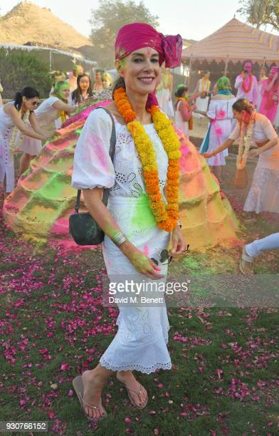Kim Hersov attends the Holi Saloni celebrations in the RAAS Devigarh on March 10 2018 in Udaipur India