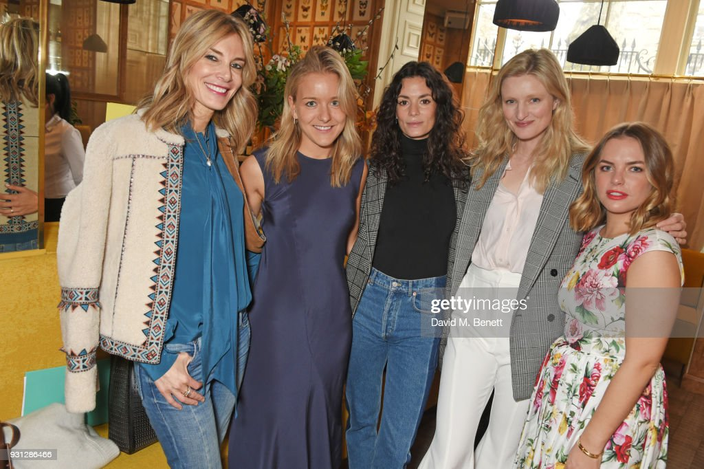 Kim Hersov, Espie Roche co-founder Hermione Espie Underwood, Hedvig Opshaug, Candice Lake and Espie Roche co-founder Alexandra Roche-Hamilton attend the Espie Roche launch breakfast at The Chess Club on March 13, 2018 in London, England.