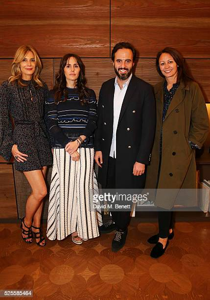 Kim Hersov Tania Fares Jose Neves and Caroline Rush attend the BFC Fashion Trust x Farfetch cocktail reception on April 28 2016 in London England