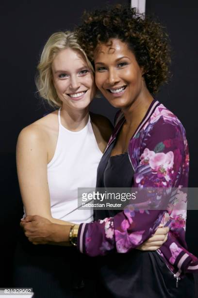 Kim Hnizdo and Marie Amiere are seen backstage ahead of the Thomas Rath show during Platform Fashion July 2017 at Areal Boehler on July 23 2017 in...