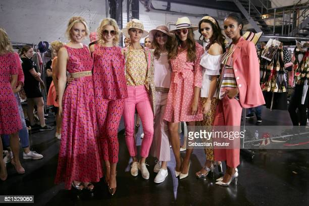 Kim Hnizdo and other models are seen backstage ahead of the Thomas Rath show during Platform Fashion July 2017 at Areal Boehler on July 23 2017 in...
