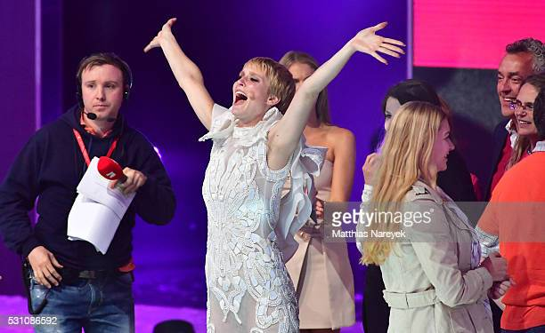 Kim Hnizdo celebrates being Germany's next topmodel during the finals of 'Germany's Next Topmodel' at Coliseo Balear on May 12 2016 in Palma de...
