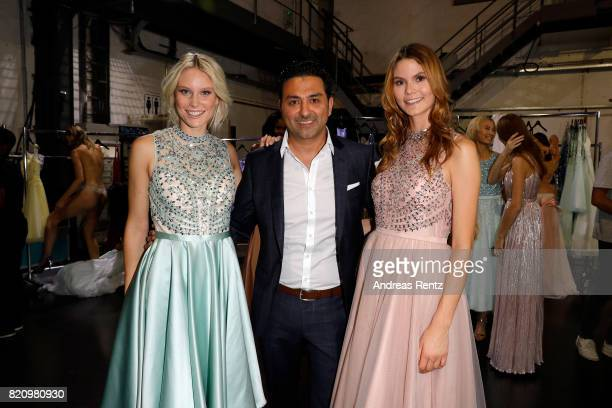 Kim Hnizdo CEO of Unique Shahin Moghadam and a model are seen backstage ahead of the Unique show during Platform Fashion July 2017 at Areal Boehler...