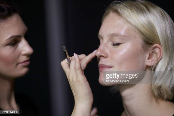 Kim Hnizdo is seen backstage ahead of the 3D Fashion Presented By Lexus/Voxelworld show during Platform Fashion July 2017 at Areal Boehler on July 22...