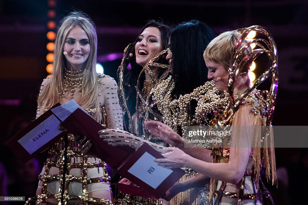 Kim Hnizdo, Taynara Joy Silva Wolf, Jasmin Lekudere and Elena Carriere during the finals of 'Germany's Next Topmodel' at Coliseo Balear on May 12, 2016 in Palma de Mallorca, Spain.
