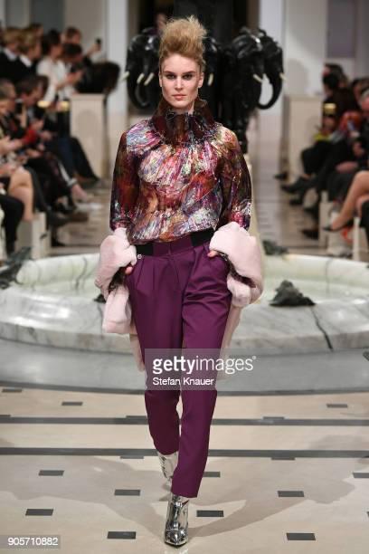 Kim Hnizdo walks the runway during the Anja Gockel fashion show at Hotel Adlon on January 16 2018 in Berlin Germany