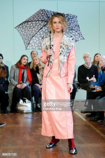 Kim Hnizdo walks the runway during the Rebekka Ruetz Fashion Show at Embassy of Austria on January 16 2018 in Berlin Germany
