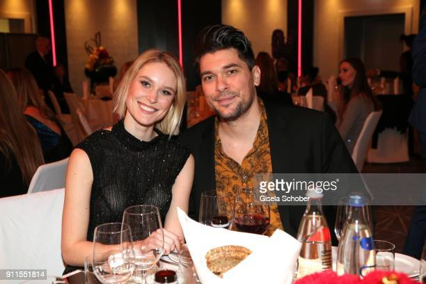 Kim Hnizdo winner GNTM and Adam Lasher during the Lambertz Monday Night pre dinner at Hotel Marriott on January 28 2018 in Cologne Germany