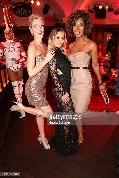 Kim Hnizdo winner GNTM Ina Aogo wife of Dennis Aogo and Marie Amière during the Lambertz Monday Night 2017 at Alter Wartesaal on January 30 2017 in...