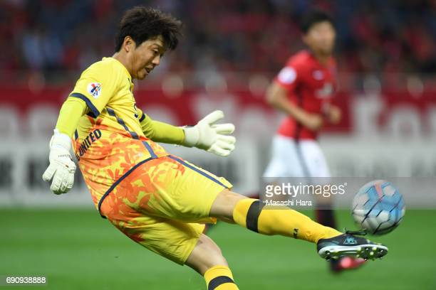 Kim Ho Jun of Jeju United FC in action during the AFC Champions League Round of 16 match between Urawa Red Diamonds and Jeju United FC at Saitama...
