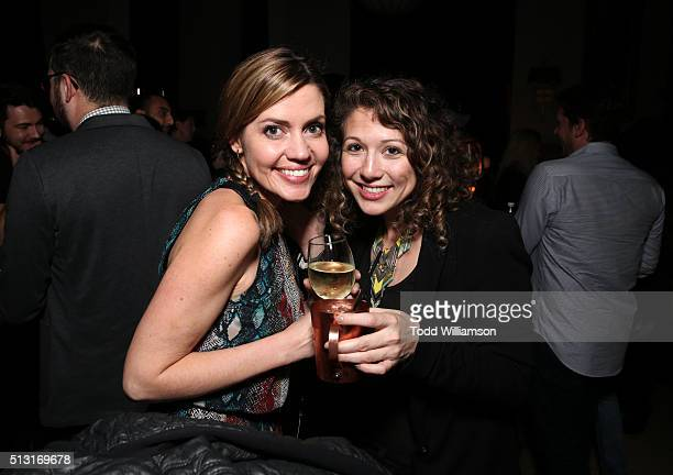 Kim Holderness of The Holderness Family and Amy Arlow attend the Maker Studios SPARK premiere after party at the Culver Hotel on February 29 2016 in...