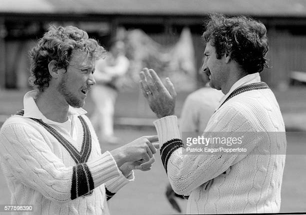 Kim Hughes and Dennis Lillee of Australia have a discussion during practice before the 1st Prudential Trophy One Day International between England...