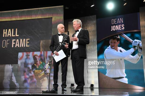 Kim Hughes excepts an award on behalf of Dean Jones who was inducted into the Hall of Fame during the 2019 Australian Cricket Awards at Crown...