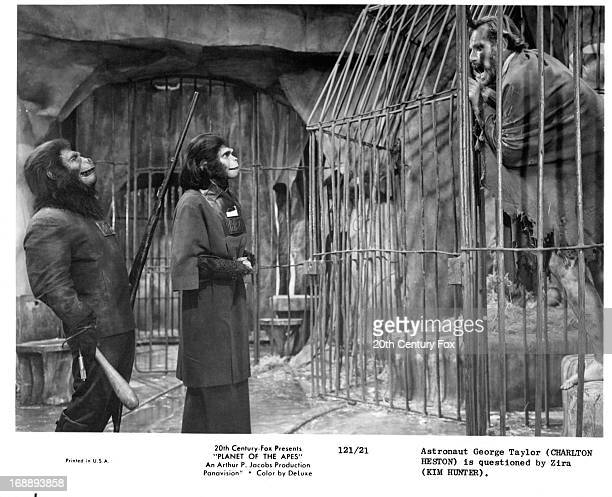 Kim Hunter questions Charlton Heston in a scene from the film 'Planet Of The Apes' 1968