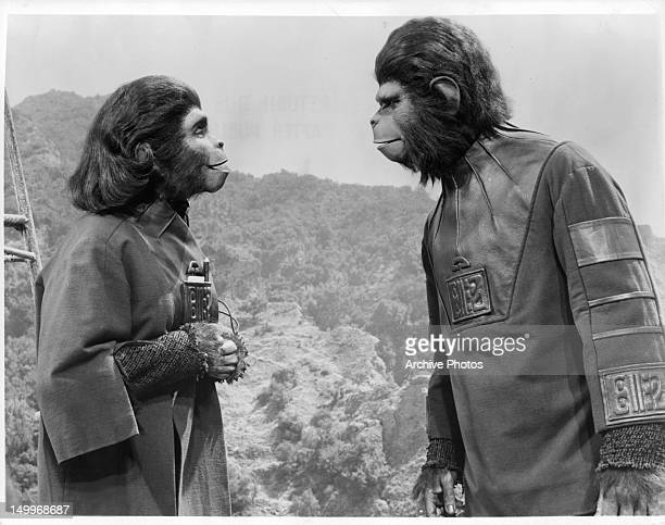 Kim Hunter talking to Roddy McDowall in a scene from the film 'Planet Of The Apes' 1968
