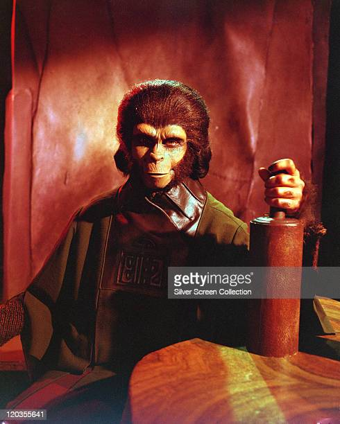 Kim Hunter US actress in a costume for her role of 'Dr Zira' in one of the 'Planet of the Apes' films circa 1970 Hunter played the role in original...