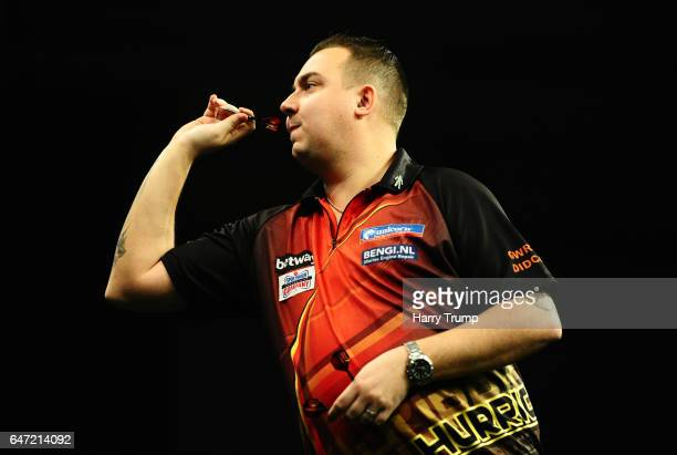Kim Huybrechts throws during Night Five of the Betway Premier League Darts at Westpoint Arena on March 2 2017 in Exeter England