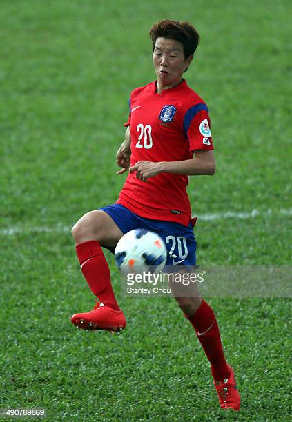 Kim Hye Ri of Korea Republic controls the ball during the AFC Women's Asian Cup Group B match between Korea Republic and Myanmar at Thong Nhat...