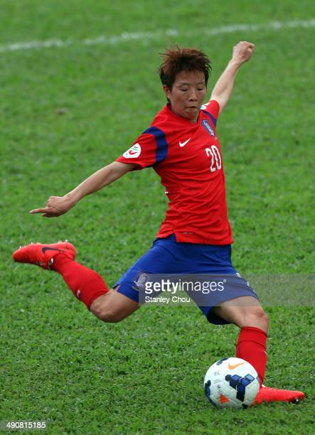 Kim Hye Ri of Korea Republic kicks the ball during the AFC Women's Asian Cup Group B match between Korea Republic and Myanmar at Thong Nhat Stadium...